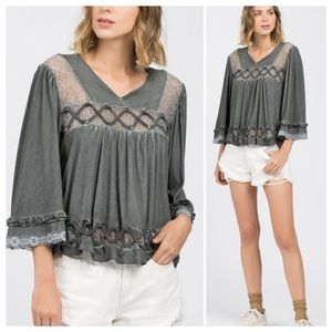 Jenny Lace and Braid Mineral Wash Top